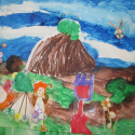 Back to School Arts and Crafts: Mini murals using mixed media