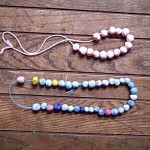painted clay bead necklace