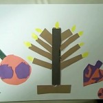 menorah with latkes and dreidle for  hanukkah crafts for kids