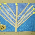 menorah on blue background for  hanukkah crafts for kids