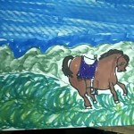 horse drawn and colored by child using monart method