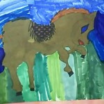 a childs drawing of a horse in brown