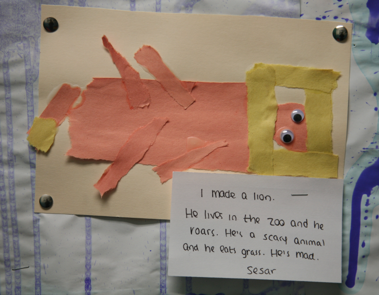 a lion using torn paper art