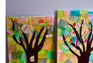 tissue paper tree collages