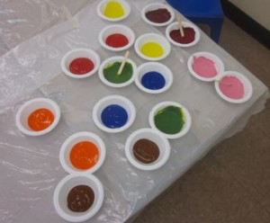 bowls of paint
