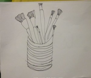 drawing of paintbrushes