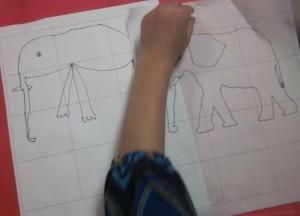 elephant on grid