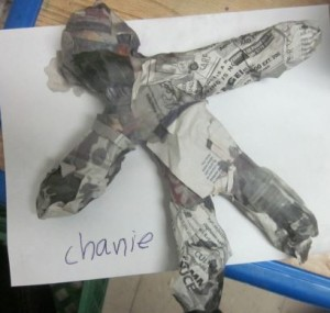 one finished paper mache sculpture