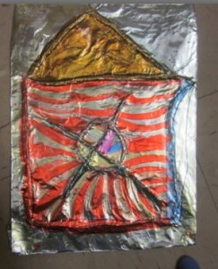second small aluminum foil with yarn art