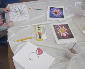 painting flowers with demos