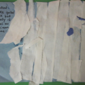 Enhance primitive collages with descriptive text (literacy art project)