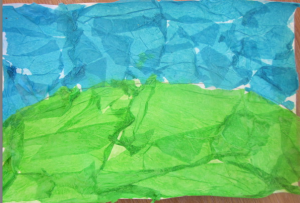 green grass and blue sky w tissue paper