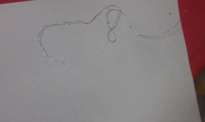 wire shape with white crayon