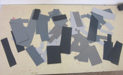 gray and black rectangles for buildings