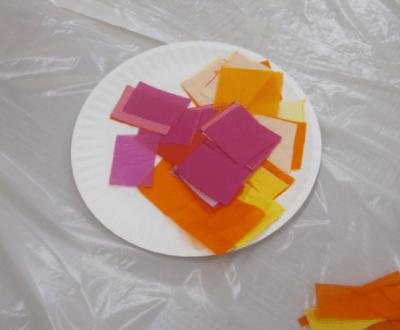 squares of tissue paper