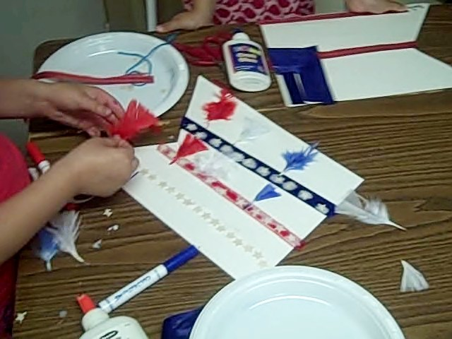 flag in progress for july 4th craft