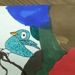 a bird drawn by child colored in with markers