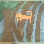 drawn lion i n forest