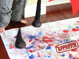 splat painting with stockings