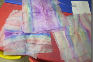 painted tissue paper unfolded