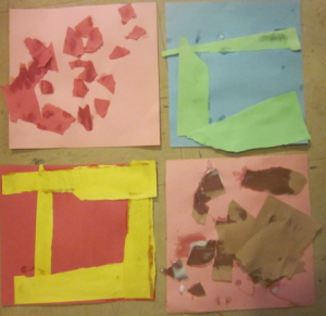 4 square torn paper collages