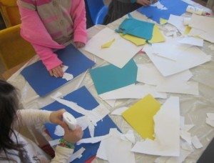 ripping paper for snow collages