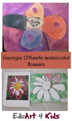 Georgia O'Keefe watercolor flowers