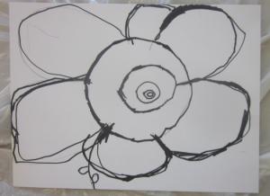 drawn flower in permanent marker