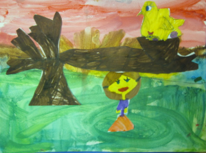 completed landscape bird picture bird in tree