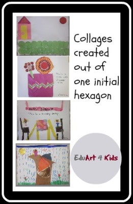 collages out of hexagons