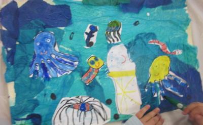 putting sea creatures on ocean