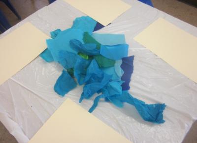 tissue paper for creating oceans