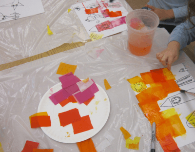 painting squares with water